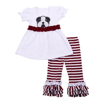 95% cotton and 5% spandex girls animal dog printed stripe tunic and pants clothing sets