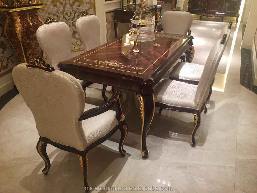 Luxury European Style 6 Seater Wooden Dining Room Furniture Set Made In China