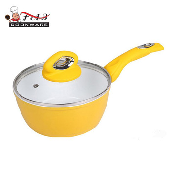 Forging White Ceramic Sauce Pan In Kitchen