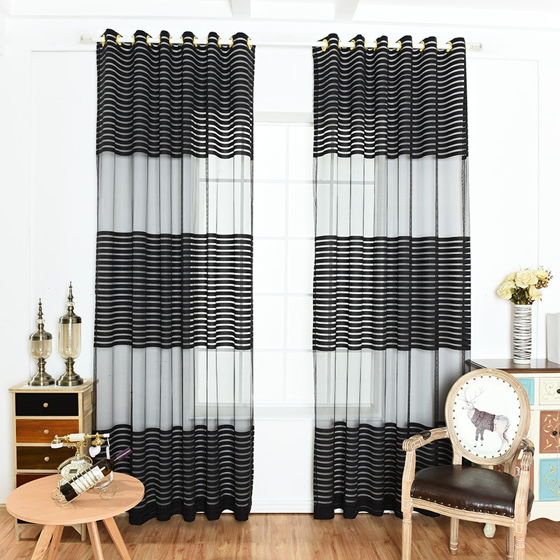 latest curtain in fashion designs striped Sheer Grommet Top Curtain, hotel room sheer curtain&