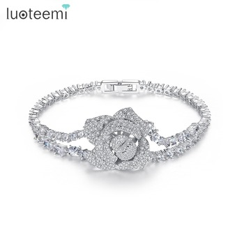 LUOTEEMI Luxury Big Rose Flower Chain Link Luxury Bracelet for Women Ladies Shining AAA Cubic Zircon Crystal Jewelry Gift Bangle