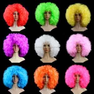 Synthetic Afro Puff Performance Hair Wavy Round Clown Wig Hair 200g Super BigFans Wig Peluca Cosplay Hair For Christmas Party
