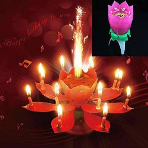 Get Quotations Hot Selling New Musical Spin Flower Party Gift Rotating Sparkler Cake Topper Birthday Candle