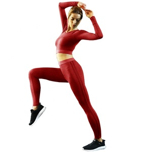 Ptsports Wholesale Autumn Yoga Slim Fit Long sleeve Crop Top and leggings set Women fashion sportswear gym fitness wear sets