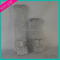 hanging silver wine bottle glass candle holder