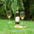 Pack of 3 Wine Glass and Bottle Holder Garden Party Lawn Stakes - Silver