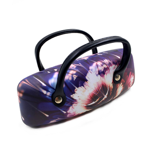 Colorful flower printed microfiber cloth cover handle glasses case for car