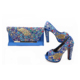 Sinyafashion royal blue italian shoes and bag set for wedding wholesale bag and shoes set