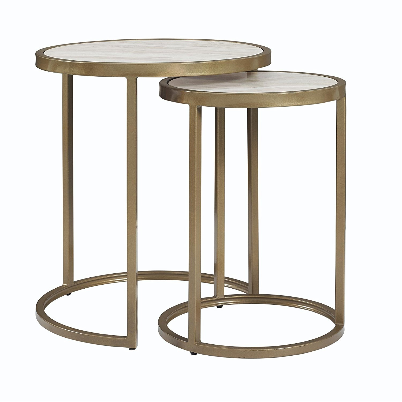 Merveilleux Get Quotations · Dorel Living Moriah Nesting Tables, Soft Brass, Faux Marble
