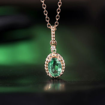 940ad1b7548aca Real 18 K Ouro Sólido Natural Diamante Esmeralda Pingente de Colar, Au750  Rose Gold Gemstone