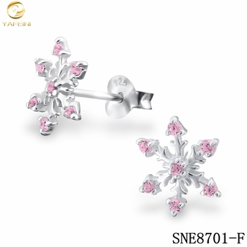 special christmas gifts for 13 year old girlspink crystal zircon snowflake stud earring for