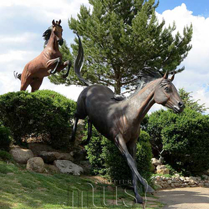 Garden Art Decoration Bronze Life Size Horses Chasing Jumping Statue