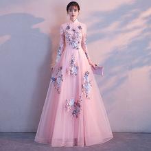 d26b79f56 Before Short Chinese Evening Dress Elegant Summer Women Sexy Flowers 2018  Pink Princess Dresses Lace Cheongsam