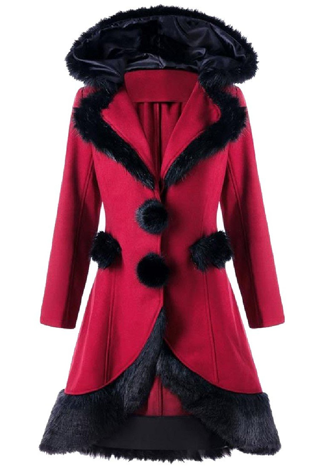XTX Womens Quilted Stand Collar Thicken Hooded Faux Fur Long Down Jacket Wine red L