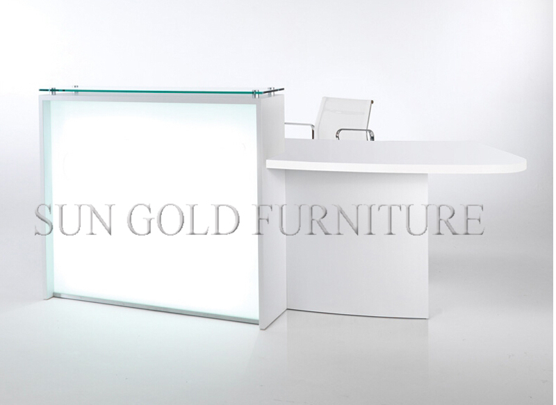 New Fashion White Glass And Wood Beauty Salon Cashier