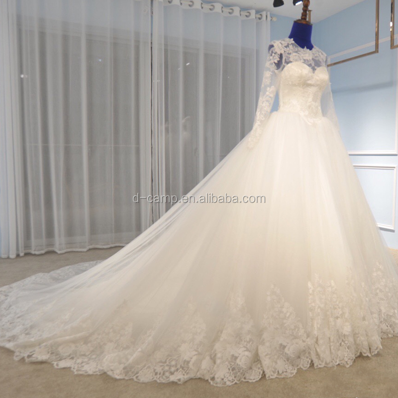Wd191 Latest Lace Tulle Womens Wedding Gown Long Sleeve Wedding ...