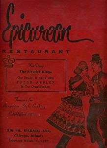 Epicurean Restaurant Menus Wabash Ave Chicago Illinois The Strudel Kings 1966