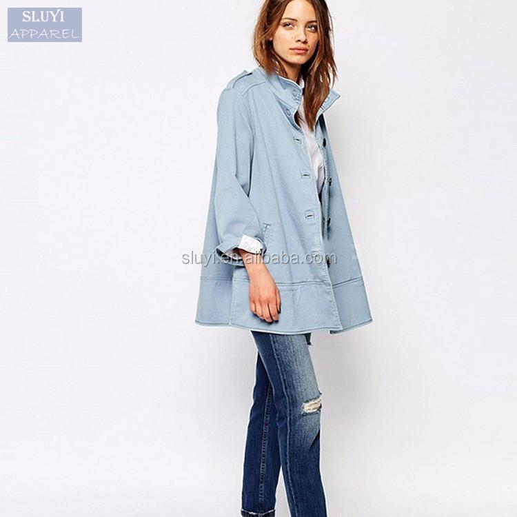 mode veste manteau femmes long manteau classique coupe vent solide bleu clair casual single. Black Bedroom Furniture Sets. Home Design Ideas