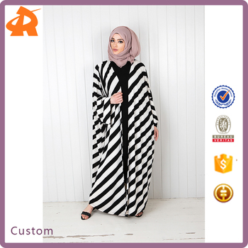 2016 Cheap Islamic Clothing Simple Black and White Twill Open Front Abaya Muslim Kimono
