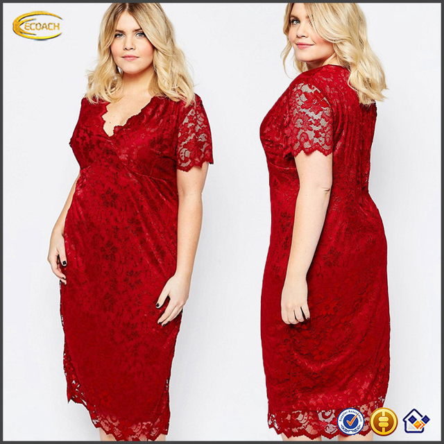 59f5751c730e1 Ecoach fashion sexy red short sleeve slim fit V neckline plus size fat women  lace dress