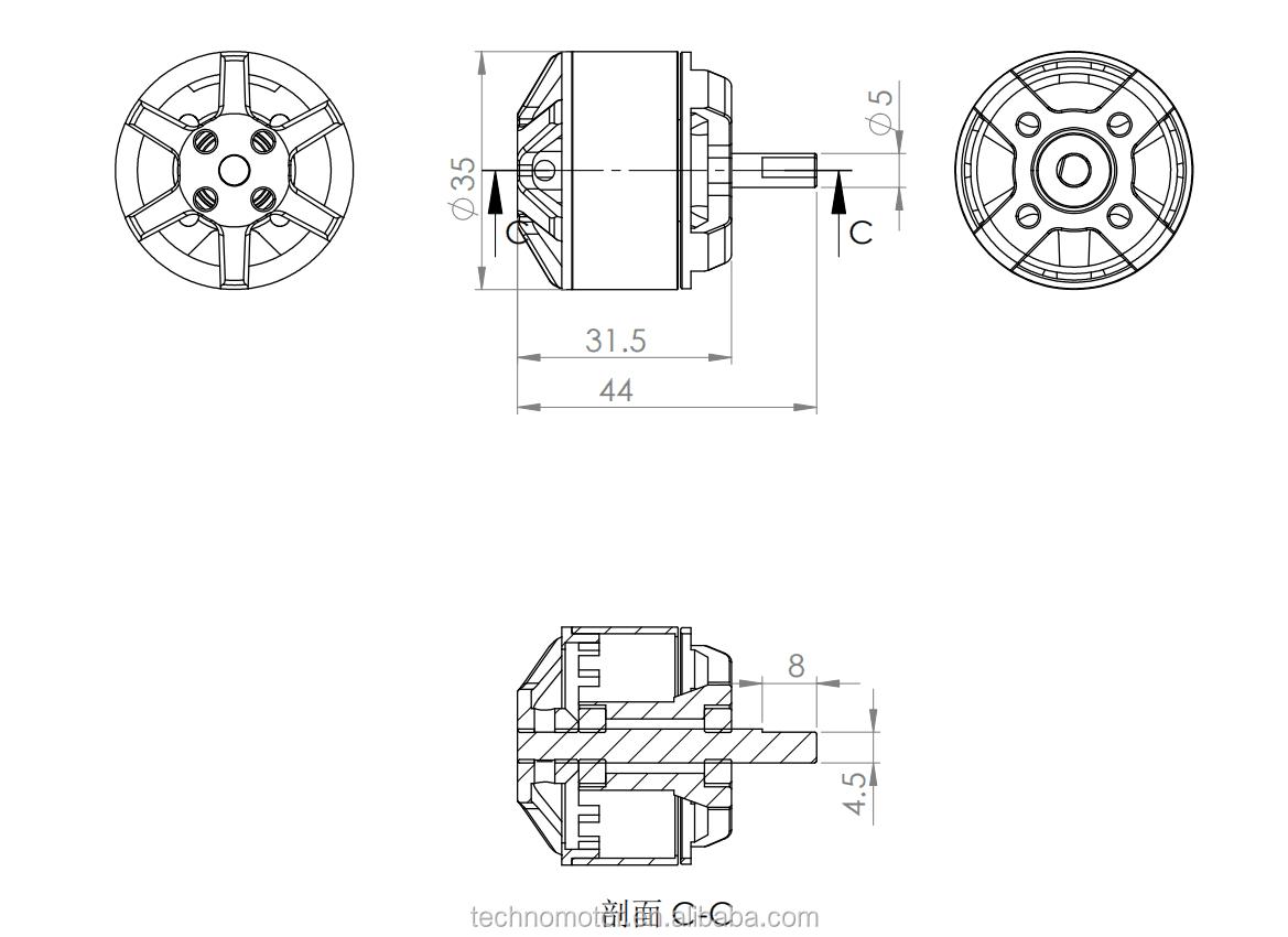Yüksek Performanslı Fırçasız Gimbal Motor BGM4114-100T-8.5
