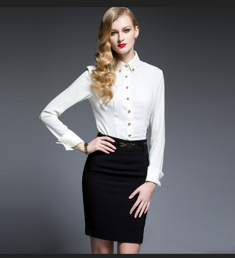 748444192 Womens Work Clothes Shirts with Skirt Office Wear Design Custom Fashion