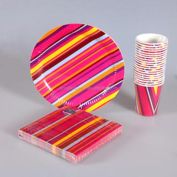 Disposable party custom print napkins / print paper plates/print paper cup & Disposable Party Custom Print Napkins / Print Paper Plates/print ...