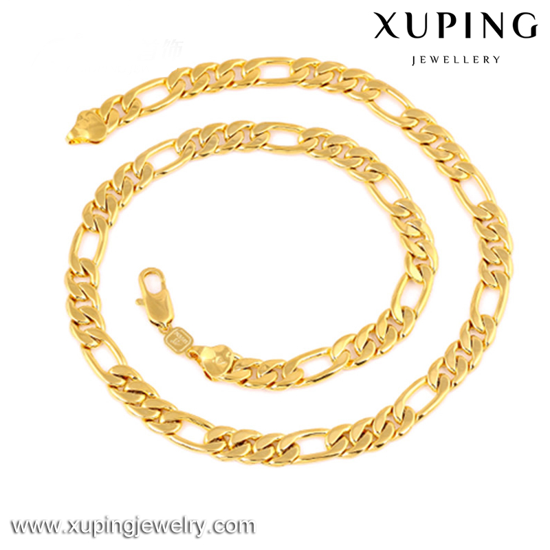 Xuping dubai gold 24K imitation jewelry men's figaro necklace