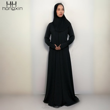 Black color women wear Egyptian Islamic clothing, plain design Dubai abaya wholesale