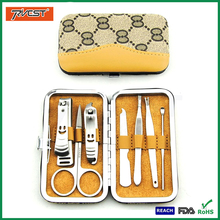 Hot Wedding Gift 7 In 1 Nail Care Tool Kit with PU Manicure Box