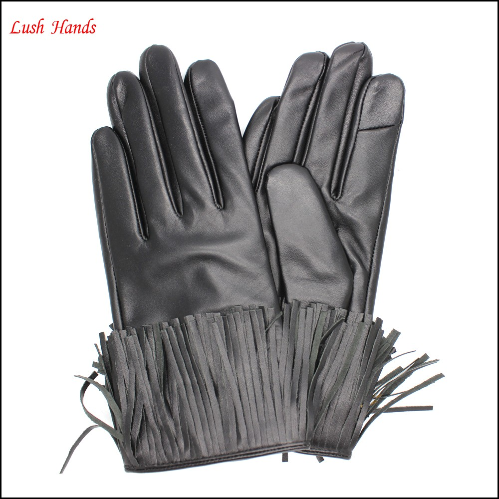 Fashion index finger touch screen black tassels leather gloves women