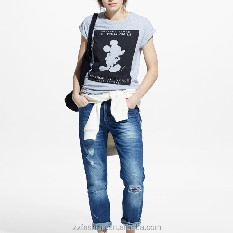 Front printed image round neck with ripped details and rolled-up cap sleeves cotton tiger print t shirts