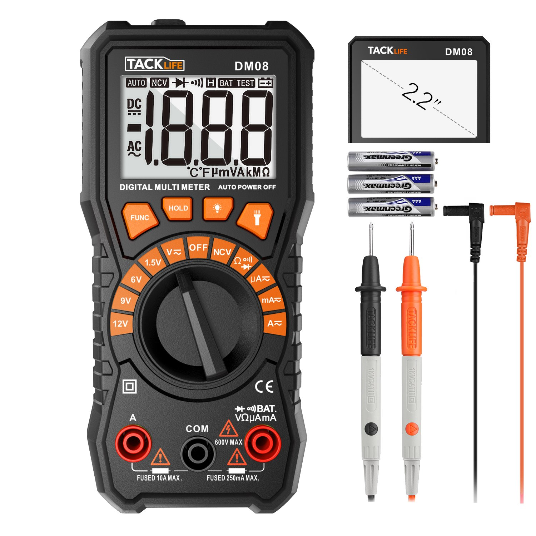 Digital Multimeter, Tacklife DM08 Battery Tester 1.5V/6V/9V/12V Volt Meter, Auto-Ranging Digital Multimeter, Diode, Resistance, Capacitance Meter, Voltage Converter, 2.2 Inch LCD, 24-Month Warranty