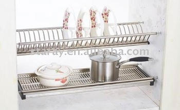 HCJ731 Kitchen Cabinet Stainless Steel Plate Rack