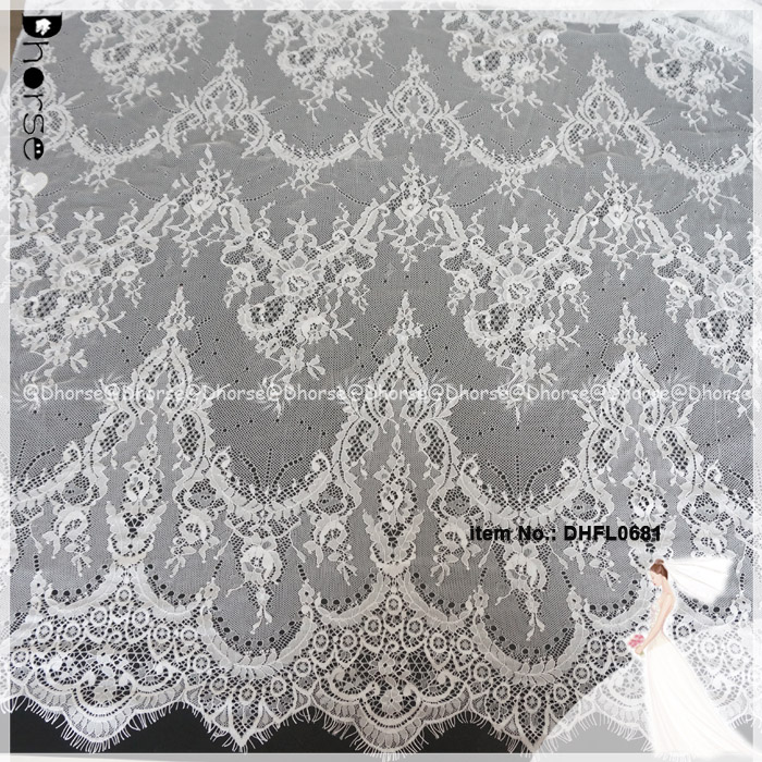 High Quality Eyelash Border French Lace Fabric 2017 Latest African Net Embroidery Lace for garment DHFL0681