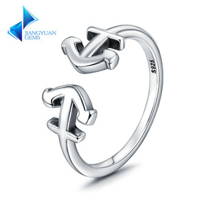 925 Sterling Silver Double Anchor Sea Journey Adjustable Open Cuff Rings For Lady Cocktail Ring Fine Jewellery