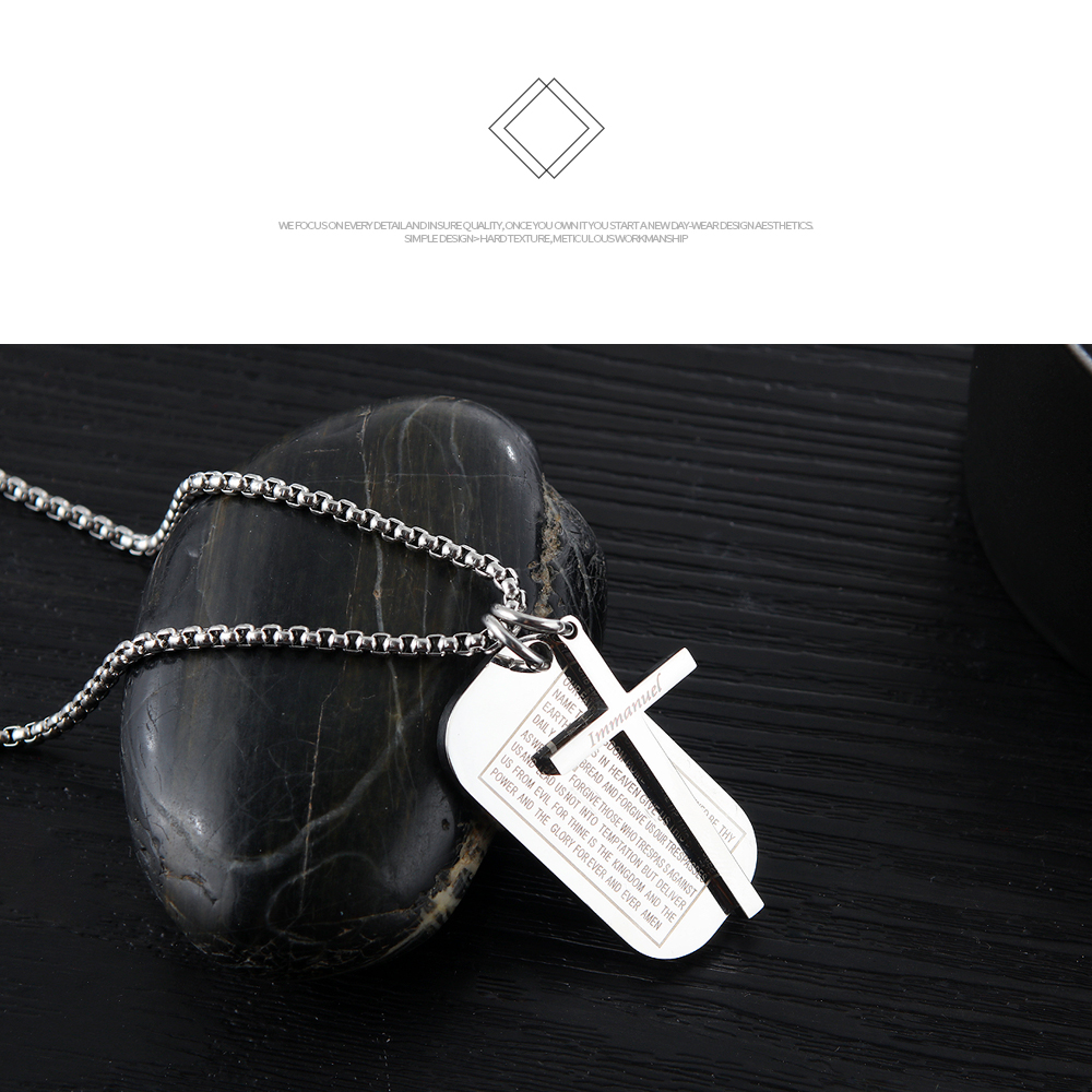 Wholesale Men Jewelry Stainless Steel Bible Cross Design Custom Pendant Necklace