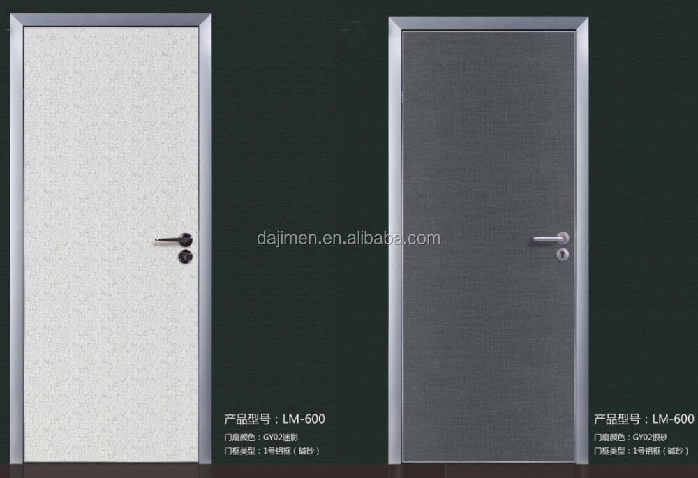 Kualitas Yang Baik Ganda Berayun Interior MDF Kayu Lapis Pintu Kayu dengan Aluminium Edge