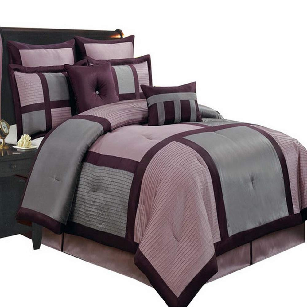 Comforter Set 12 Piece Luxury Complete Bed In A Bag Cal King Size With Sheets Skirt And Decorative Pillows Modern Color Block Oversized