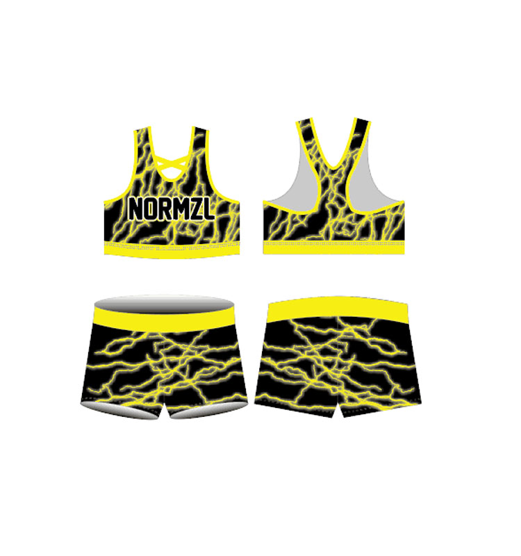 High Elasticity Wholesale Spandex Cheerleading Bra and Shorts Set Cheerleading Uniforms In Practice