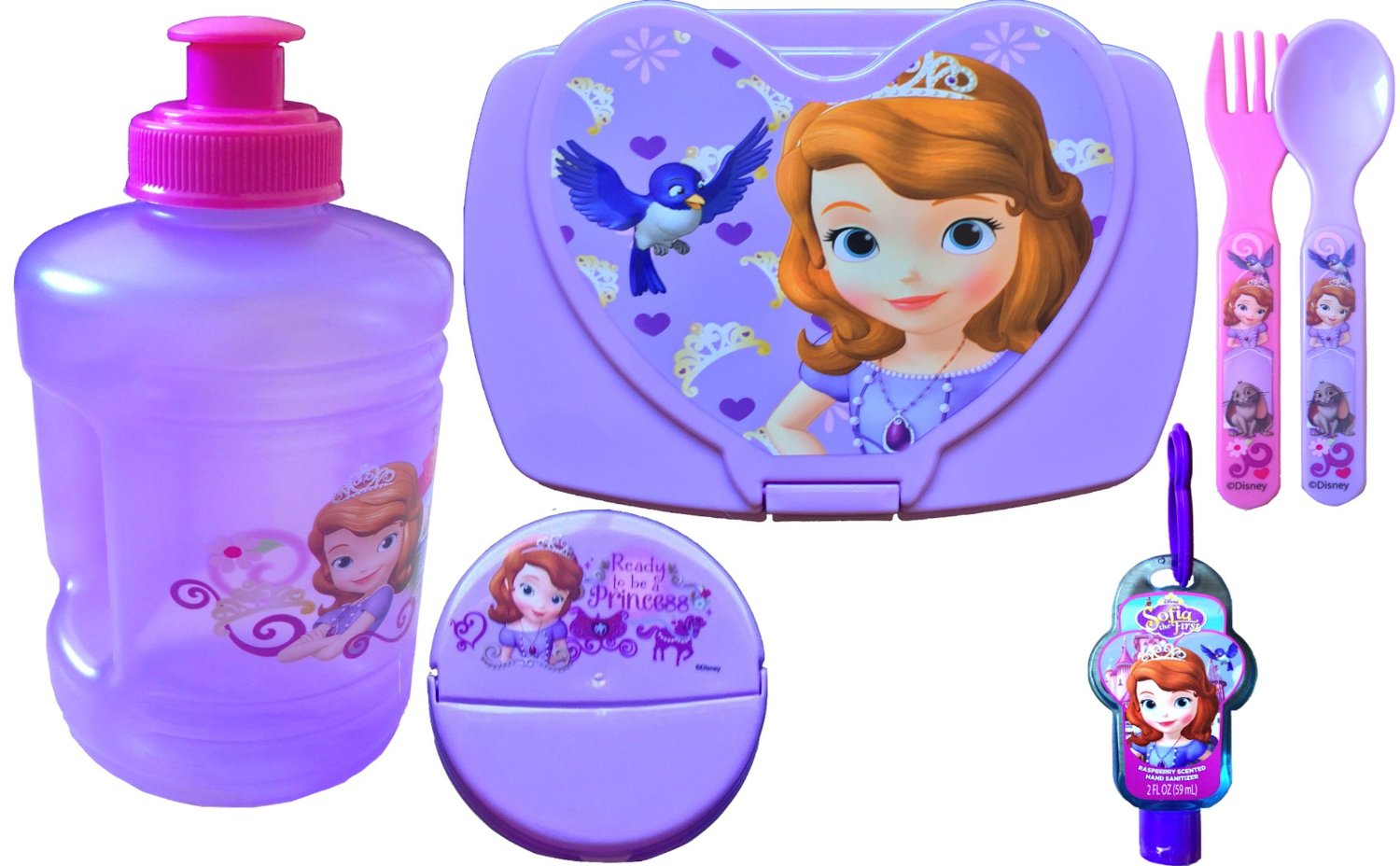 Sofia the First 6 Piece Back to School Girls Lunch Kit Includes Water Jug,sofia the First Sandwich Container and Snack, Sofia the First Flatware Set,hand Sanitizer Back to School Lunch Specials