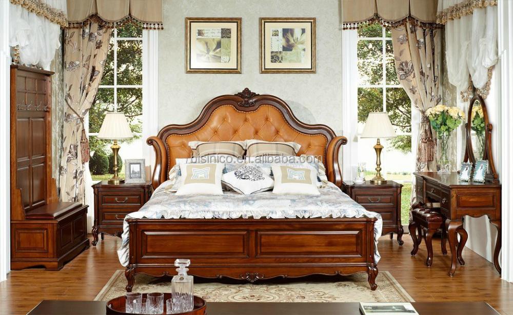 chambre a coucher king size style amricain bois massif roi taille lit en cuir en bois placage - Chambre A Coucher Lit King Size