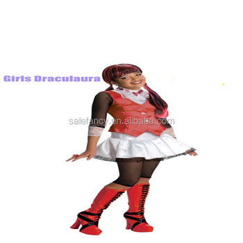 Draculaura Costume Monster High Girls Vampire Halloween Fancy Dress halloween costume QAWC-3179