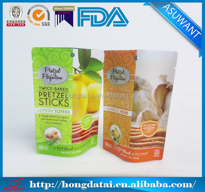 Food grade plastic customized cookie bags for twice baked pretzels sticks