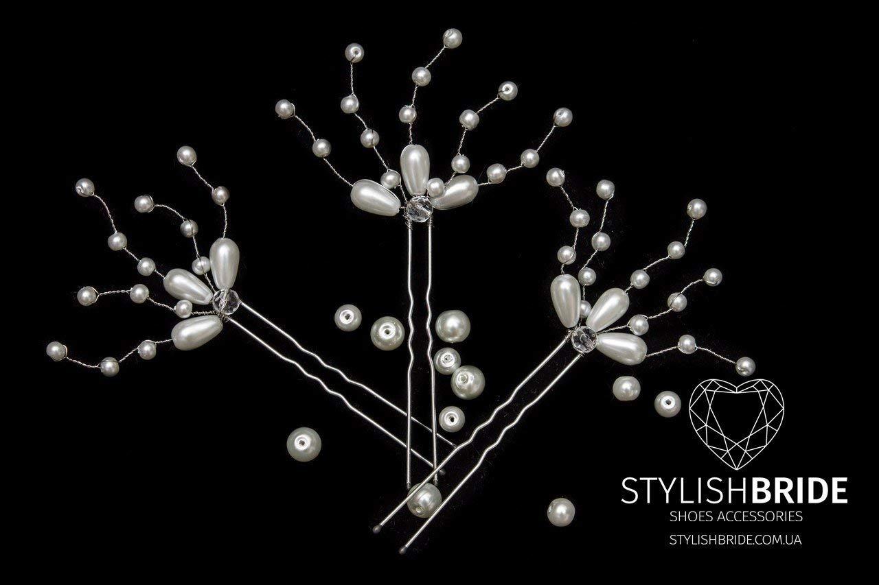 Bridal Hair Pins, Pearl Hair Pins, Wedding Hair Accessories, Bridesmaid Hair Accessory, Crystal Pearl Diamante Hair Grips