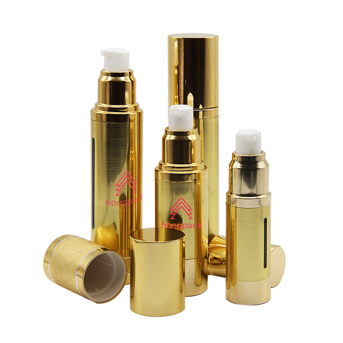 15ml 30ml 50ml gold airless pump bottle stock low MOQ