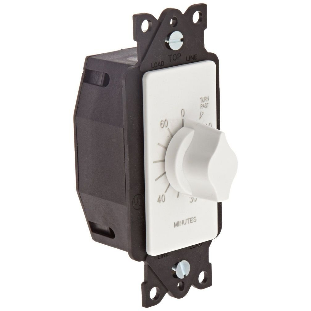 Intermatic FD460MW 60-Minute Spring-Loaded Wall Timer for Lights and Fans White