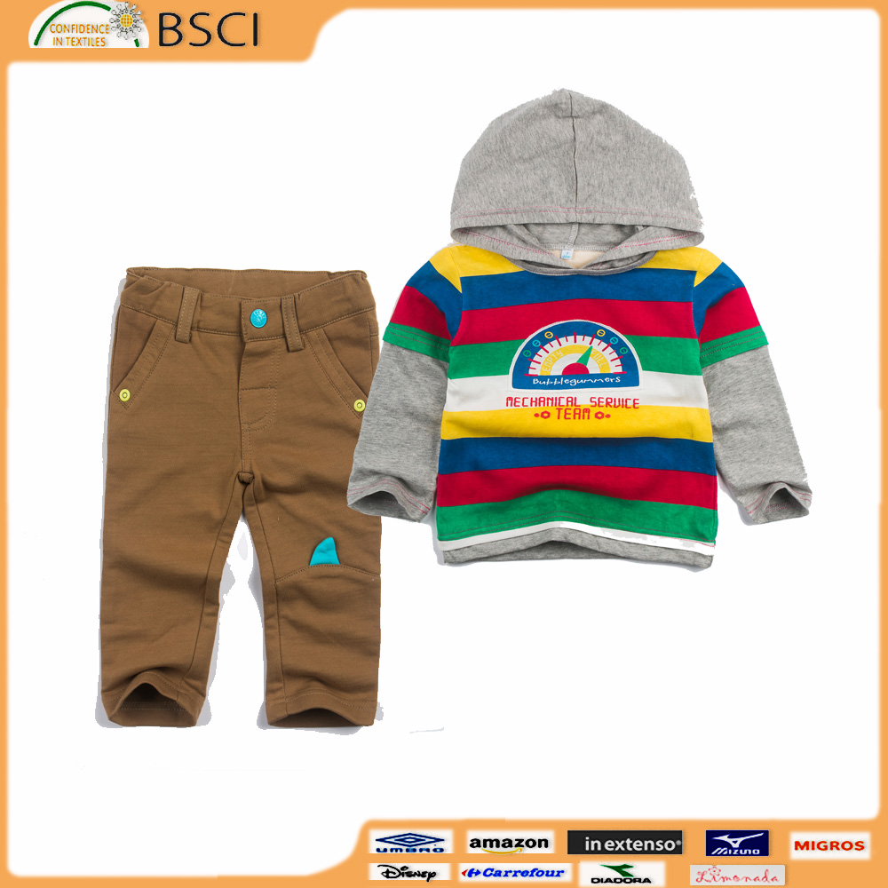 Wholesale Cool Junior Boys Bermuda shorts clothing sets for baby infant BSCI OEKO Certification