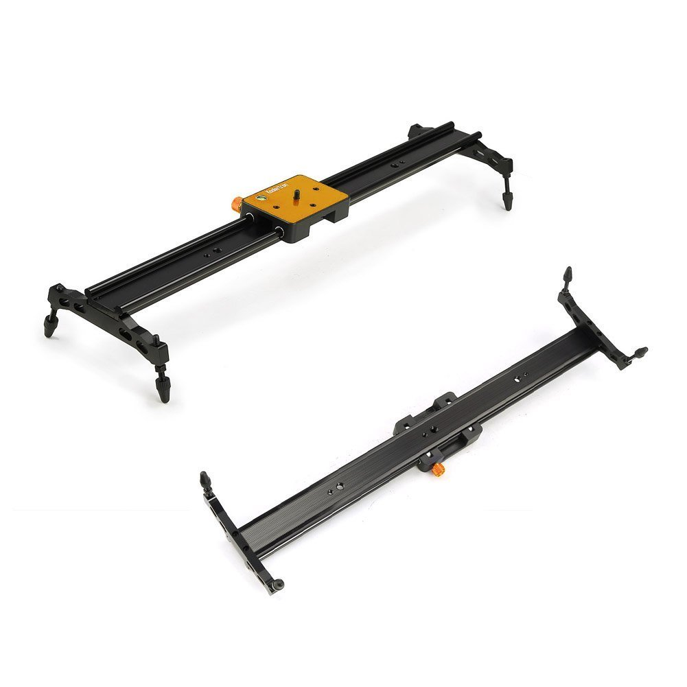 """Koolertron Aluminum Alloy Video Track Slider in Video Shooting Rail Stabilization System With 1/4"""" and 3/8"""" Screw for Canon Nikon Sony DSLR Cameras Camcorders (60cm / 24"""" Length, Golden)"""