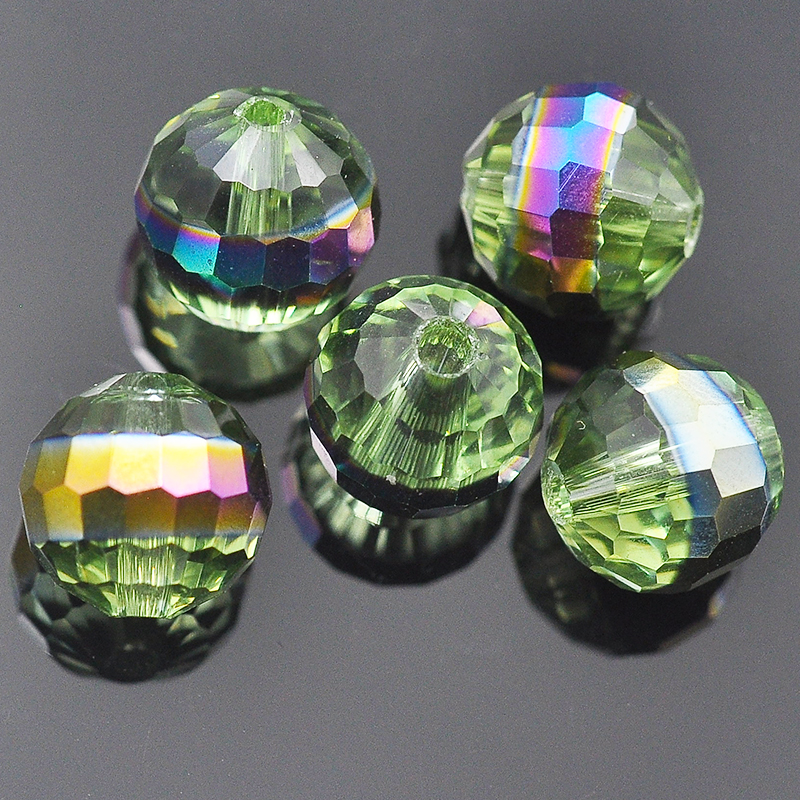 2016 fashion green coated trade crystal beads for jewellery making wholesale